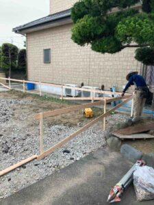【東京都足立区】S様邸注文住宅新築工事は遣り方工事を行っています。